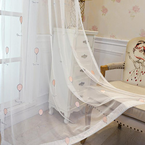 Cartoon Balloon Embroidery Curtain Tulle For Living Room Bedroom Children's Room Window Screening kitchen Sheer Curtain ZH052Y