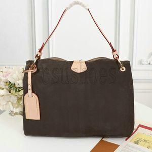 Anmutige MM PM Hobo in klassischen beschichteten Leinwandhandtaschen extra geräumige leichte Leder geschmeidigem Flachriemen Dame Schultertasche