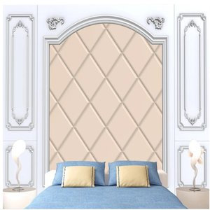 New white wall panels European pattern crystal soft package TV background wall 3d wallpapers