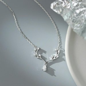 New Fashion Silver Color Deer Elk Pendant Necklace S925 Water Drop Zircon Antlers Necklace For Women Luxury Jewelry