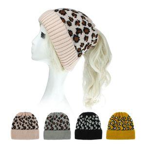 Knitted Leopard Ponytail Hat Women Beanies Skullies Winter Warm Knitting Outdoor Ski Casual Bonnet Cap 6 Styles Y5