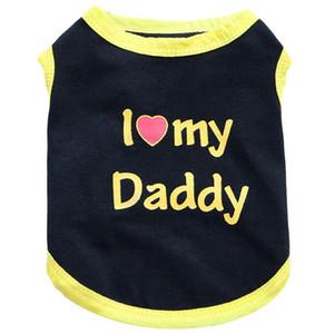 Mode Polyester Love Daddy Petit Dog Vest de printemps Vêtements d'été pour chiots Couleur Solid Couleur Vêtements Été Vest respirant Vest