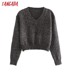 Tangada Women 2020 Spring Oversized Crop Knitted Sweater Jumper V Neck Female Pullovers Chic Tops 3L28