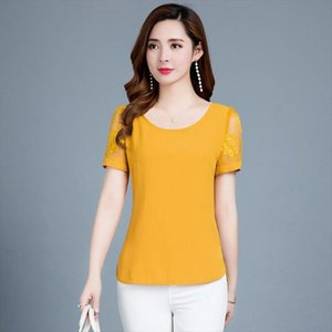 Women Spring Summer Style Chiffon Blouses Shirts Lady Casual O Neck Mesh Chiffon Blusas Tops DF2778 Drop Shipping