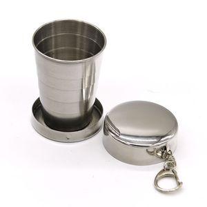 Copa plegable de acero inoxidable 75ML portátil al aire libre los viajes de camping plegable plegable de metal llavero Tazas de té Teaware plegable de cristal DWF3073