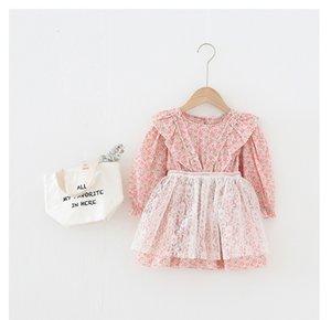 Bebé primavera caída manga larga o-cuello flores llenas volantes elegante niña ropa vestido