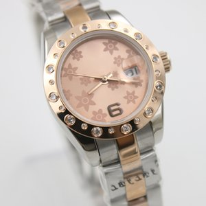 High Quality Everose Two Tone Small Flower Diamond Limited Style Fashion Lady Automatic Mechaincal Stainless Steel Strap Womens Wristwatches
