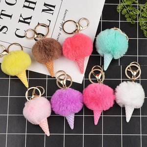 New cream plush keychain pompon car pendant men and women bag key chain charm creative gift1