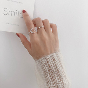 MENGJIQIAO 2019 Korean New Delicate Shiny Zircon Moon Star Open Adjustable Rings For Women Micro Pave Femme Finger Ring 2pcs set
