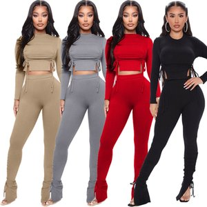 Women Two Pieces Outfits Designer 2020 Tracksuits Solid Colour Slim Sexy Drawstring Design Pleated Pit Stripes Ladeis New Fashion Sportwear