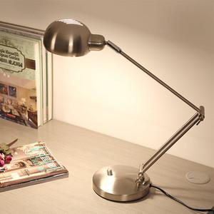 Black Silver Modern Led Table with Adjustable Arm Eye protection Desk E27 Edion Bulb for Reading Night light Lamp 220V C0930
