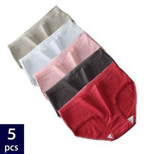 5PCS Set Cotton Underwear Women's Panties Comfort Underpants Solid Color Soft Briefs Lingerie For Woman Sexy Pantys Intimates