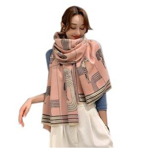 Women Winter Scarf Cashmere Warm Foulard Lady Fashion Vintage Print Scarves Thick Soft Shawl Wraps 60*190cm