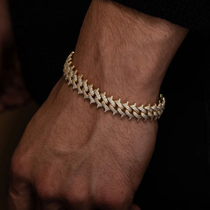 15MM Width Iced Out Bling Hip Hop CZ Spike Cuban Chain Men Bracelet Micro Pave 5A Cubic Zirconia Top Quality
