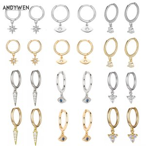 Andywen 925 Sterling Silver Multi Dangle Hoops Cristal Dunne Huggies com encantos Loops Circle Clips Brincos Jóias Para As Mulheres