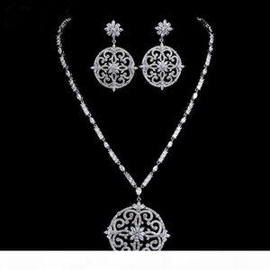 New luxury bridal jewelry set white gold colour cubic zircon big flower vintage wedding jewelry set Christmas gift