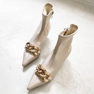 DEAT 2020 New Autumn Winter Fashion Casual Solid Color Skinny Patent Leather Pointed High Heel Shoes Short Boots Women SG751