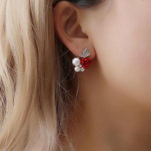 Mode Petit Silver Bijoux Élégantes Femmes Lady Girls Paire Rose Rose Flower Imitation Perle 18K Jaune Jaune Gold Cristal Goudins boucles d'oreilles