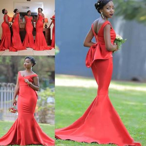 Plus Size 2020 Red Satin African Bridesmaid Dresses Mermaid With Bow V Neck Maid of Honor Gowns Special Occasion Party Guest Dress