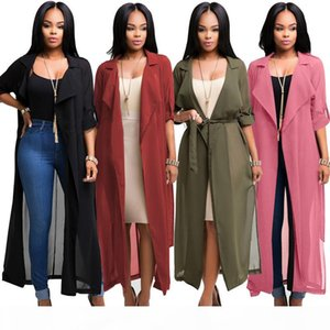 Fashion long trench coat women half sleeve chiffon shirt cardigan coats woman windbreaker strap to waist african clothing wholesale 4 colors