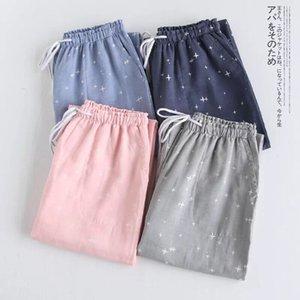 Parejas de primavera Gauze de algodón Pantalones de sueño para damas Lazo de hogar Pajama Pantalón Pantalones inferiores de hombre Pantalones para dormir Mujer Pijama Bottoms