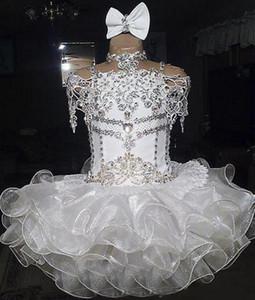Branco Girl's Pageant Vestidos Lace Beaded Halter Manga Curta Curva Organza Bola Vestido Cupcake Criança Pequena Flor Meninas Para Casamentos Glitz