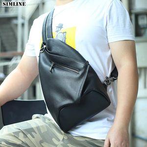 Genuine Leather Chest Bag Men Women Vintage Cowhide Multi Function Travel Shoulder Crossbody Bag Chest Bags Backpack For Male
