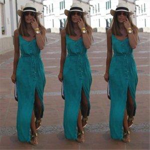 Sexy Women Summer Chiffon Dresses Long Maxi BOHO Evening Party Solid Dress Beach Dresses Sundress Drop Shipping