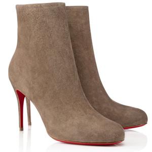 Зимняя женщина ботинок лодыжки, роскоши дизайнеры красные подошвы каблуки, тонкий высокий каблук короткие ботинки красные нижние ботинки ADOX Eloise Booty Black Khaki