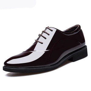 Man Pointed Toe Dress Shoes Classic Mens Patent Leather Black Wedding Shoes Oxford Formal Shoes Big Size 38-48