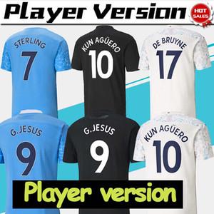 Version du joueur 2021 Jersey de football Manchester # 17 de Bruyne # 10 Kun Aguero Accueil Troisième Homme Chemise de football personnalisé Uniformes de football personnalisé