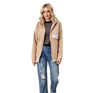 Mit Kapuze Lose Reißverschluss Frauen Patchwork Tasche Strickjacke Plüsch Tops Mantel Herbst Winter Warme Beiläufige Hoodies Jacke Outwear