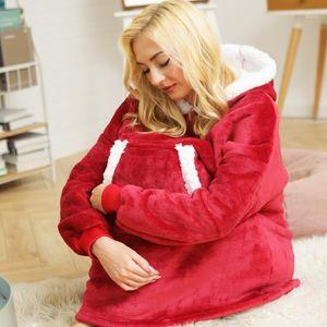 Thick Sweat Oversize Hoodie Zipper Wearable Blanket Fleece Sweatshirt Hooded Pocket Sherpa Pullovers Sudadera Mujer1