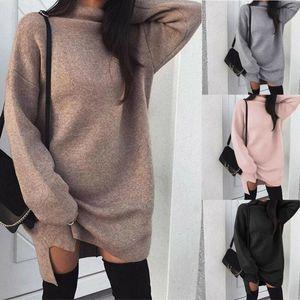 Fashion Hot Sale Knitted Pullover Loose Mini Dress Winter Spring Autumn Women Sweatshirt Turtleneck Long Sleeve Jumper Dress
