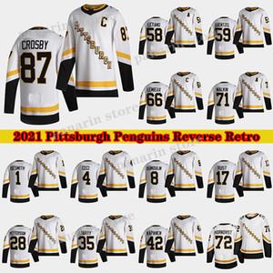 Pittsburgh Penguins 2020-21 Reverse Retro Jersey 87 Sidney Crosby 66 Mario Lemieux 71 Evgeni Malkin 58 Letang 59 Guentzel Hockey Jerseys