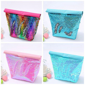 Sequined Coolers Handbag Mermaid Bento Bag Office Food Containers outdoor picnic Children kids Insulated Lunch Bag 4 Styles LXL1110-1