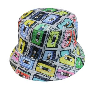 Harajuku style street tape printed fisherman cap all-match sunshade basin cap double-sided fashionable basin