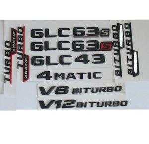 3D Matt Black Trunk Lettres Badge Emblem Emblems Badges Sticker pour Mercedes Benz GLC43 GLC63 GLC63S V8 V12 Biturbo AMG 4MATIC