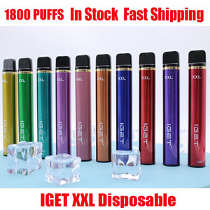 Original IGET XXL Kit de dispositivo de vaquera desechable 1800 Puffs 950mAh 7ml Preculada Vape Stick para Bang Shion Plus Max Haka Interruptor 100% auténtico