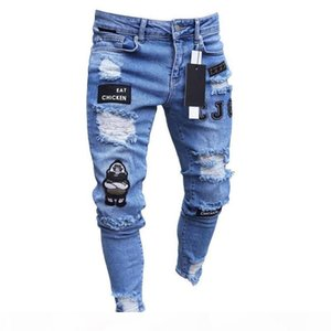3 Styles Men Stretchy Ripped Skinny Biker Embroidery Print Jeans Destroyed Hole Taped Slim Fit Denim Scratched High Quality Jean C19040401