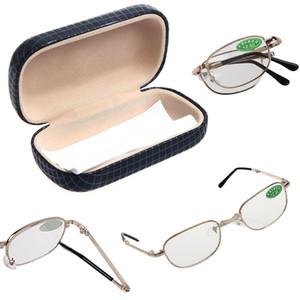 2021 Kadın Erkek Metal Çerçeve Katlanır Okuma Gözlükleri Case Güçlü Güçlü + 1,00 - +4.00 Mar15_15