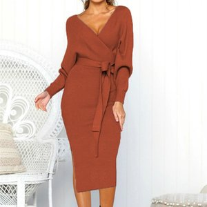 Autumn New Sexy V-neck Backless 2020 Party Elegant Long Sleeve Midi Dress Solid Side Split Women Dress Bandage Sashes LJ201202