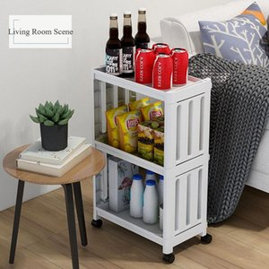 Organizer Movable Shelf Shelf Holder Knife Kitchen Gap Home Slim Storage Fridge Storage Bathroom 2 3 4Layer Floor-Type Side Rack Latwx