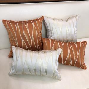 Luxuoso geométrico jacquard travesseiro capa casa decoração coxim cobertura bege marrom decorativo fronha 30x48cm / 45x45cm pillowsham
