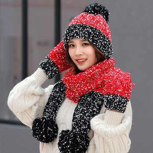 Christmas Gift Snowflake Beanie Cute Winter Wool Hat Scarf Gloves Three-piece Korean Version of the Trend of Wild Sweet Warm Knitted AHE3253