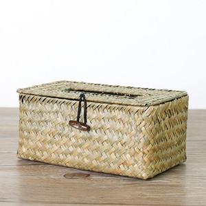 Container Desktop Home Decor Tissue Box Paper Towel Baskets Napkin Holder Handmade Storage Case Seaweed Woven