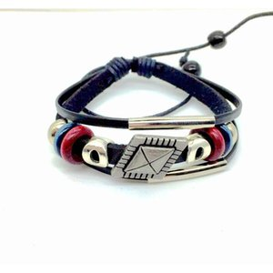 Newest Men Vintage Infinity Leather Charm Bracelet Silver Wooden Beads Cuff Wristbands 6 Mixed Style jllCLM bdecoat