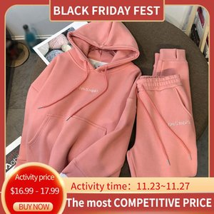 Autumn Fleece Thick Women's Set Letter Print Front Pocket Hoodie Drawstring High Waist Pants Female Sets 2020 Girls Tracksuit