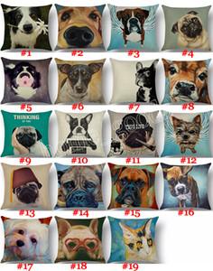 لطيف الحيوان وسادة القضية الفرنسية البلدغ الكلب القط وسادة غطاء الكتان رمي سادات أريكة مكتب سيارة ديكور المنزل 19 تصاميم GWD4137