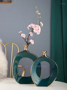 Креативность керамики Золотой вырез ваза ремесленные изделия цветок ваза цветочная композиция гидропоника современное домашнее украшение на рабочем столе1
